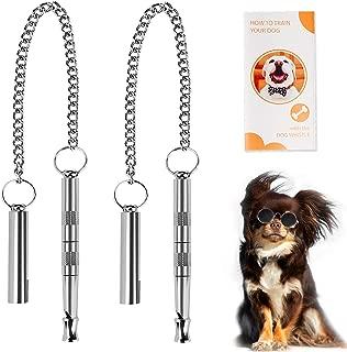 Dog Whistle, ProfessionalDog Training Tools to Stop Barking Adjustable Frequency Ultrasonic Pure Copper Dog Training Whistles, 2 Pack & a Dog Training Instruction Manual