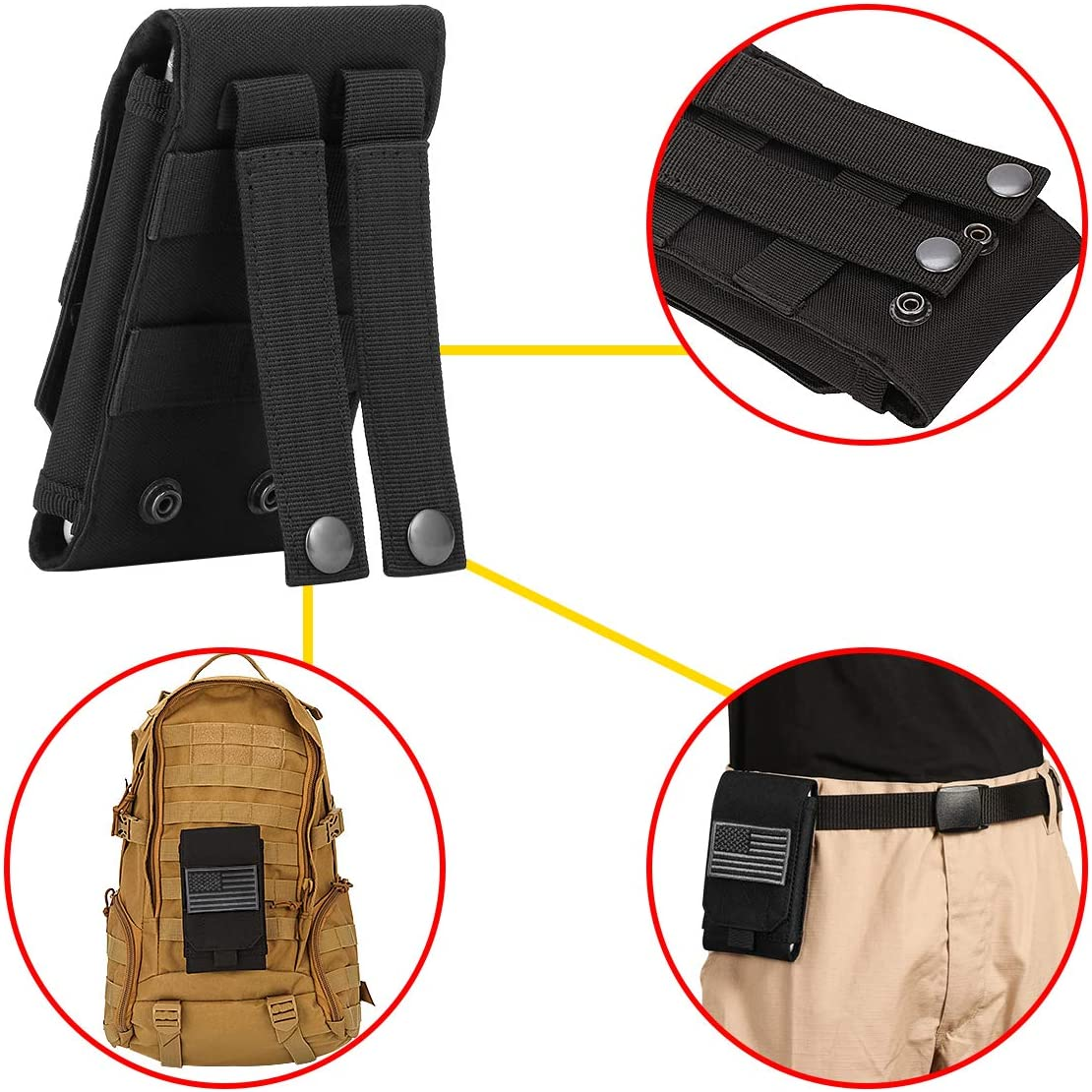 IronSeals Tactical Molle Pouch Large Heavy Duty Belt Pouch Phone Holster with Flag Patch for iPhone 12 Pro Max//11 Pro Max//11//XS Max//X//8 Plus//8 Samsung Note 10 Plus//10//9//8 Galaxy S9 Plus//S9