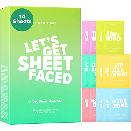 I DEW CARE Let's Get Sheet Faced Face Sheet Mask Pack | 14 Days Intense Skin Makeover | Self Care Gift Collection | Collagen, Acai Berry, Tea Tree Oil, Eucalyptus| Korean Skincare, Cruelty-Free, Paraben-Free