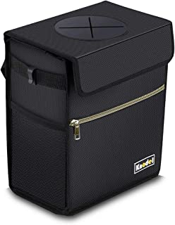 Knodel Car Trash Can with Lid, Leak-Proof Car Garbage Can with Storage Pockets, Waterproof Auto Garbage Bag Hanging for Headrest (Black)