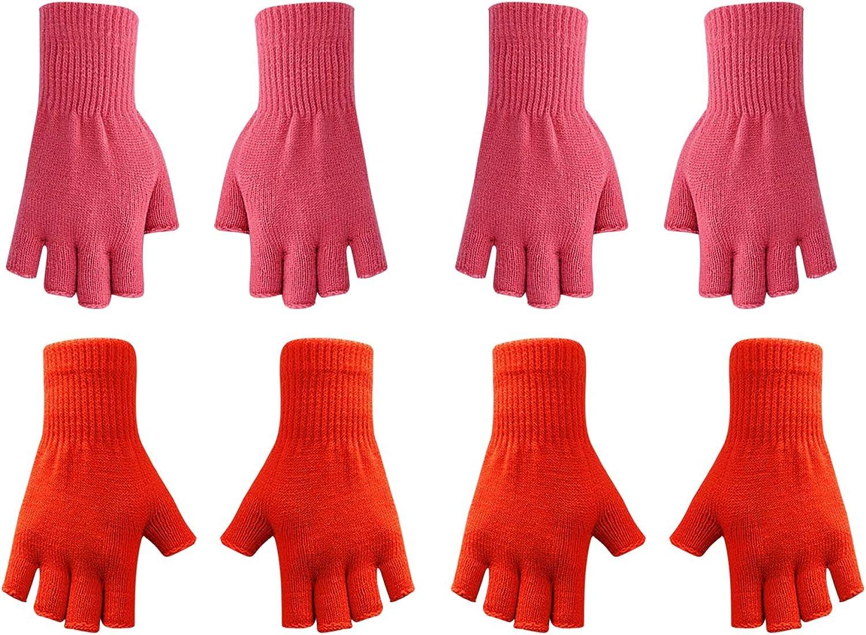 GRASWE Women's Warm Half Finger Glove Stretchy Knit Gloves Plain Basic Fingerless Gloves