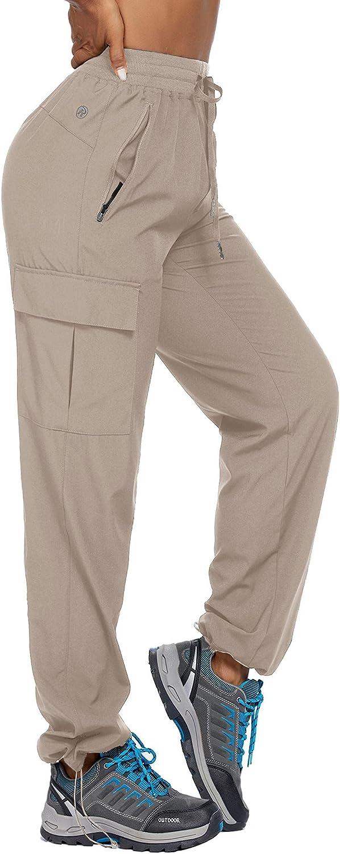 Pinspark Women's Cargo Hiking Pants Lightweight Quick Dry UPF 50 Workout Zipper Pockets S-XXL