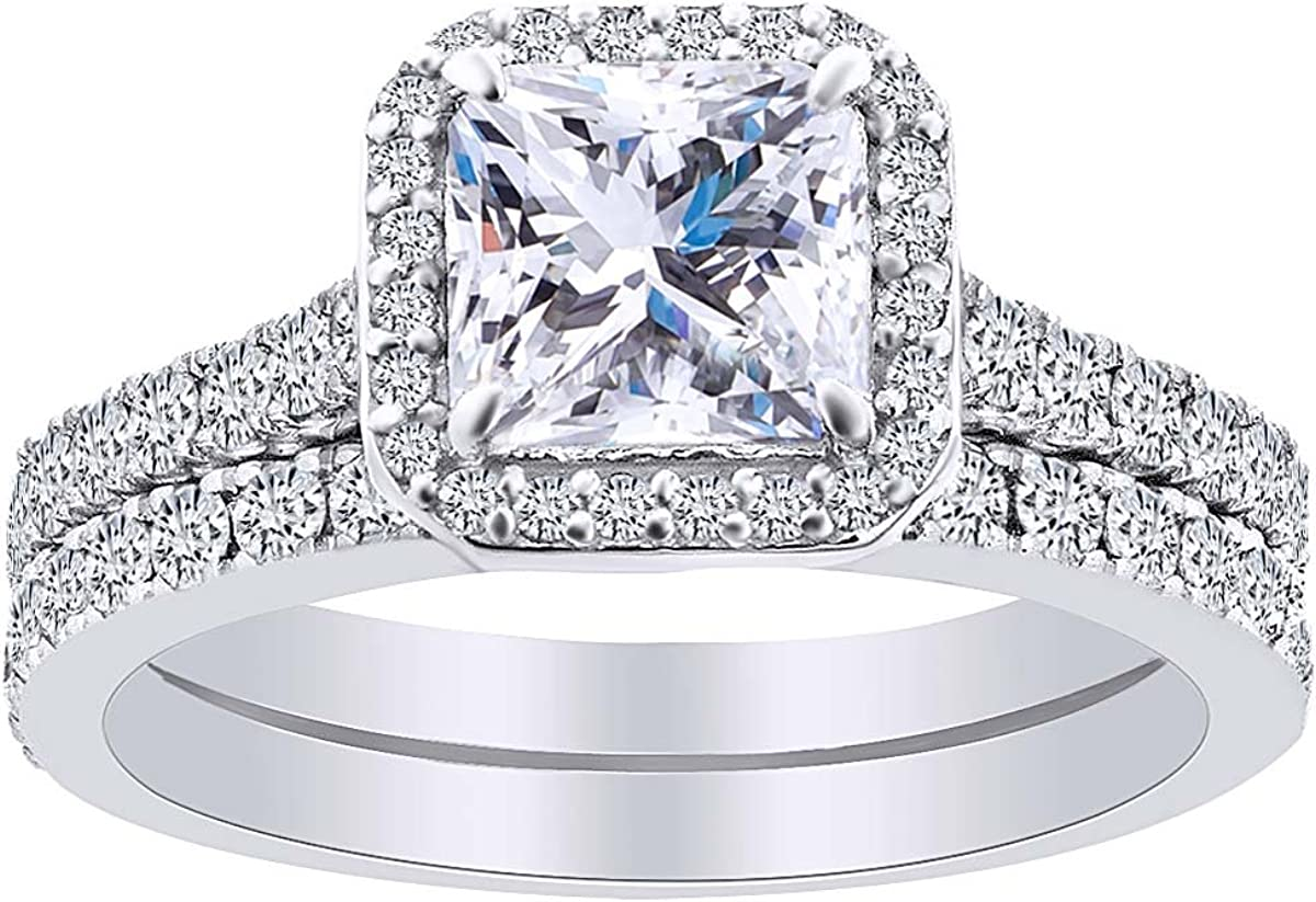 AFFY Princess Round Cut White S Max 88% OFF Engagement Zirconia Ring Cubic 70% OFF Outlet