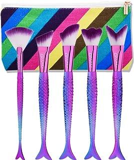 Makeup Brush Set tools,Scofieldly 5 Pieces MakeUp Foundation Eyeshadow Brushes Cosmetic Makeup Mermaid Brush Set With Bag