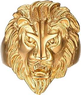 Chapado en Oro Anillo, Hombres Anillo León Cabeza Dorado