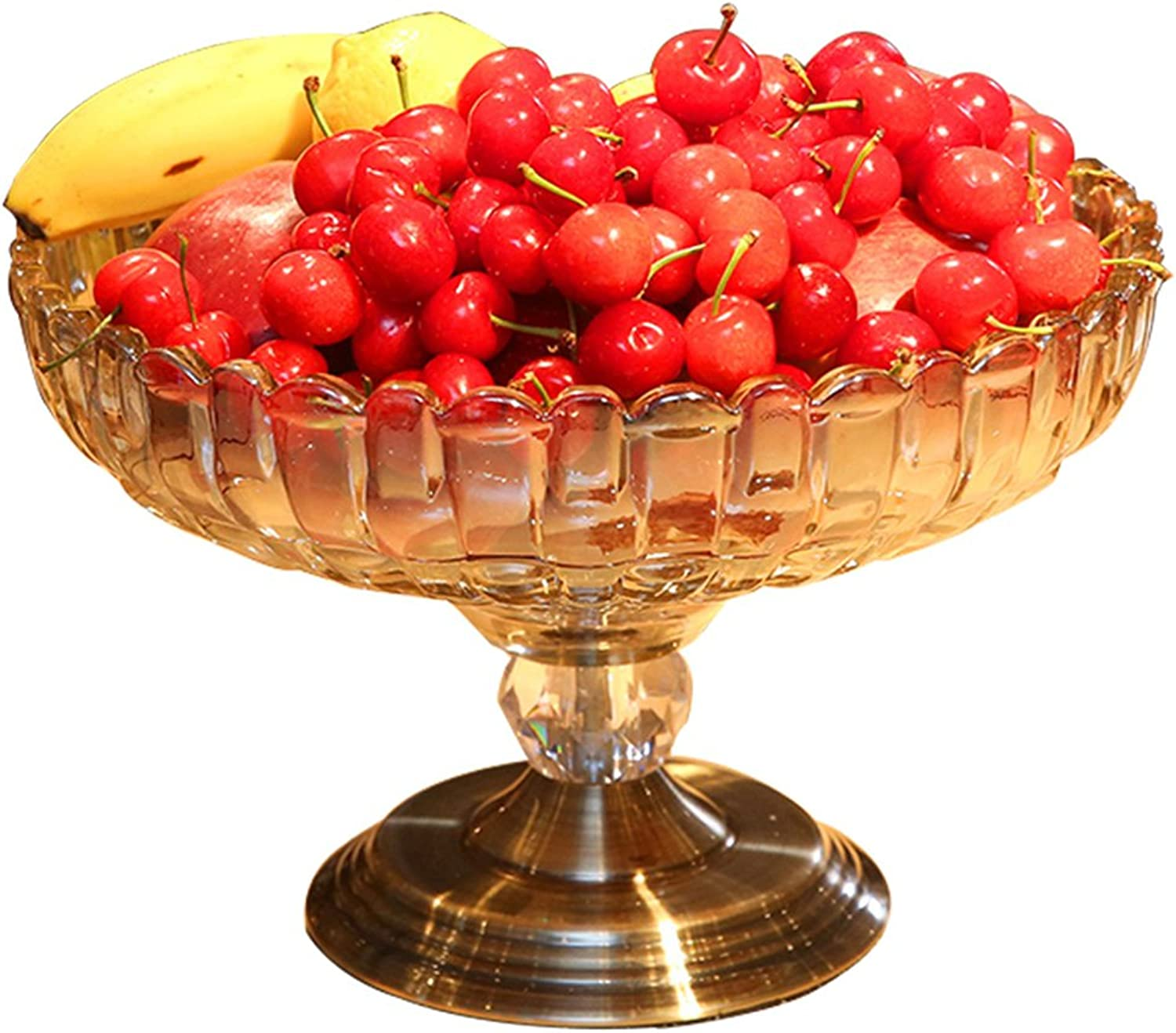 HOOPOO Plat de Fruits Décorations Pratiques Table Basse Simple Verre Bol De Fruits Maison Salon Décoration Haute Transparent Assiette De Noix De Fruits Porte-Fruits