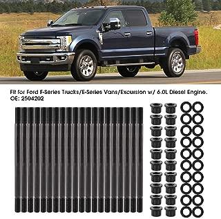 Qiilu Cylinder Head Stud Set for 2003-2007 Ford F250 F350 Super Duty 2003-2005 Ford Excursion Powerstroke 6.0L Turbo Diesel 2504202