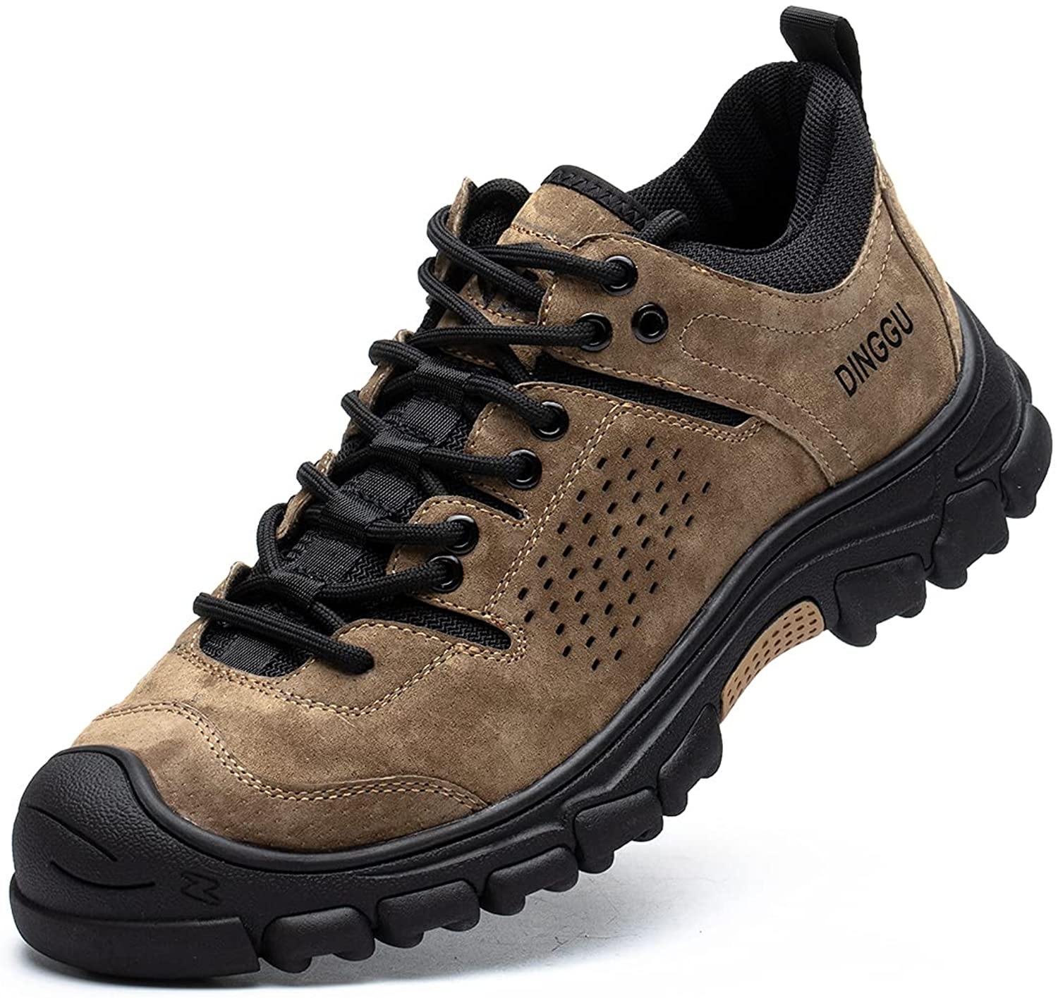 DINGGU Work Shoes for Men with Deodorant Insole Steel Toe Sneakers for Men Lightweight and Comfortable Slip Resistant Mens Work Shoes, MSDG019-Brown