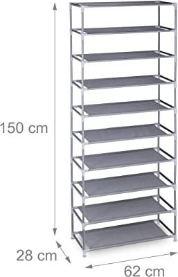 Relaxdays Zapatero de tela, 10 niveles, para 30 pares de zapatos, altura 150 x 62 x 28 cm, color gris 10031572_111, 1 unidad