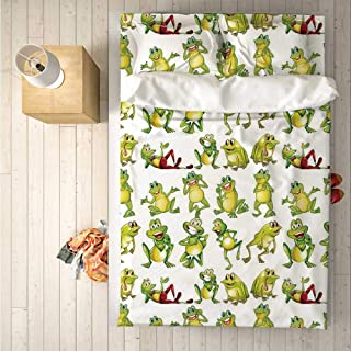 Nursery Comfortable 4 Piece Bedding Set,Frogs in Different Positions Funny Happy Cute Expressions Faces Toads Cartoon for Hotel,One Side Print : Double