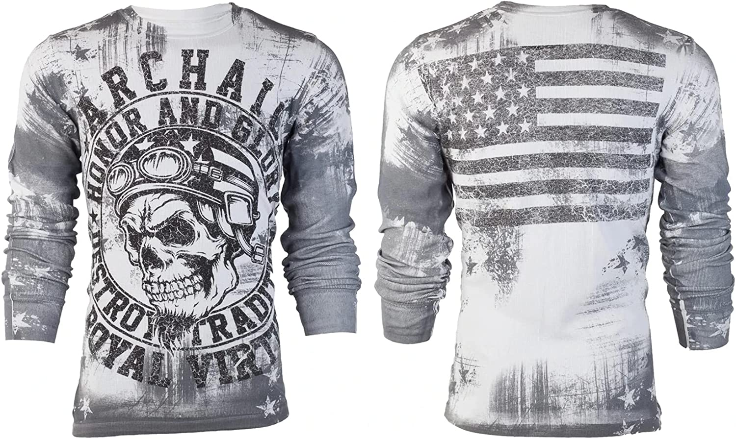 Archaic by Affliction Men's Long Sleeve Thermal Shirt Death Racer
