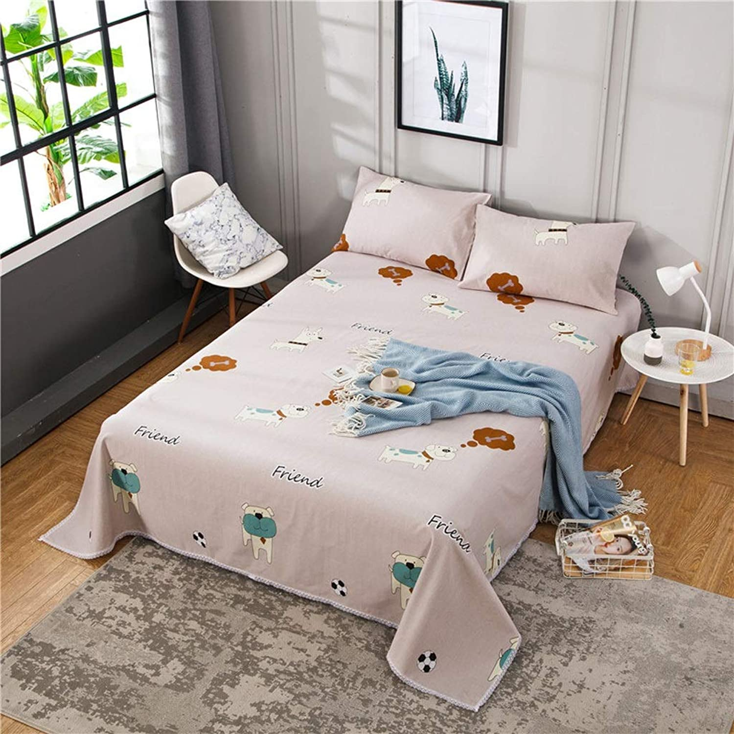 Fitted Bed Sheets, Finest 100% Cotton Double Bed Sheets, Super Soft, Non Iron Wrinkle Resistant (color   C, Size   230  245cm)