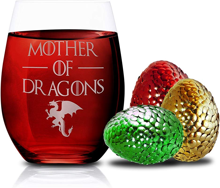 Game Of Thrones Wine Glasses Mother Of Dragons Novelty Drinking Games Stemless Wine Glass 15 OZ