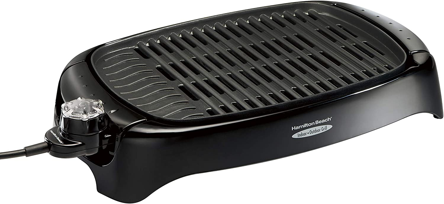 Hamilton Beach 31605N Outdoor, Black, Less Smoke, Electric, Easy Clean Indoor Grill, 125 sq. in,
