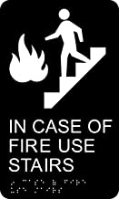 HY-KO Products DB-18 In Case Of Fire Use Stairway Braille Sign, White/Black, 6
