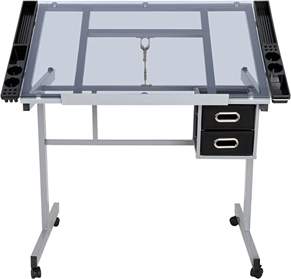 JupiterForce Adjustable Drafting Table Drawing Desk Height Art Craft Work Station Folding Glass Tabletop Storage Drawer For Reading Writing