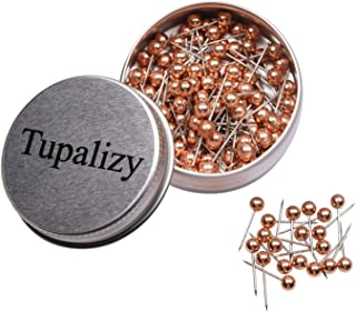 Tupalizy 1/8 Inch Diameter Small Decorative Map Tacks Plastic Head Push Pins with Steel Point, 100PCS (Rose Gold)