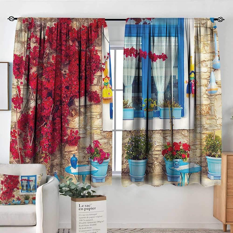 Coastal,Bedroom Drapes Mediterranean House 42 X63  Decor aterproof Indo Curtain