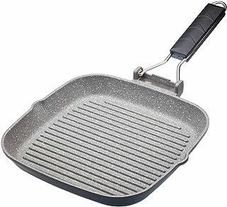 Kitchencraft Masterclass–Plancha de inducción antiadherente sartén con mango plegable, 20cm (8pulgadas), color negro, aluminio, negro, 24 cm