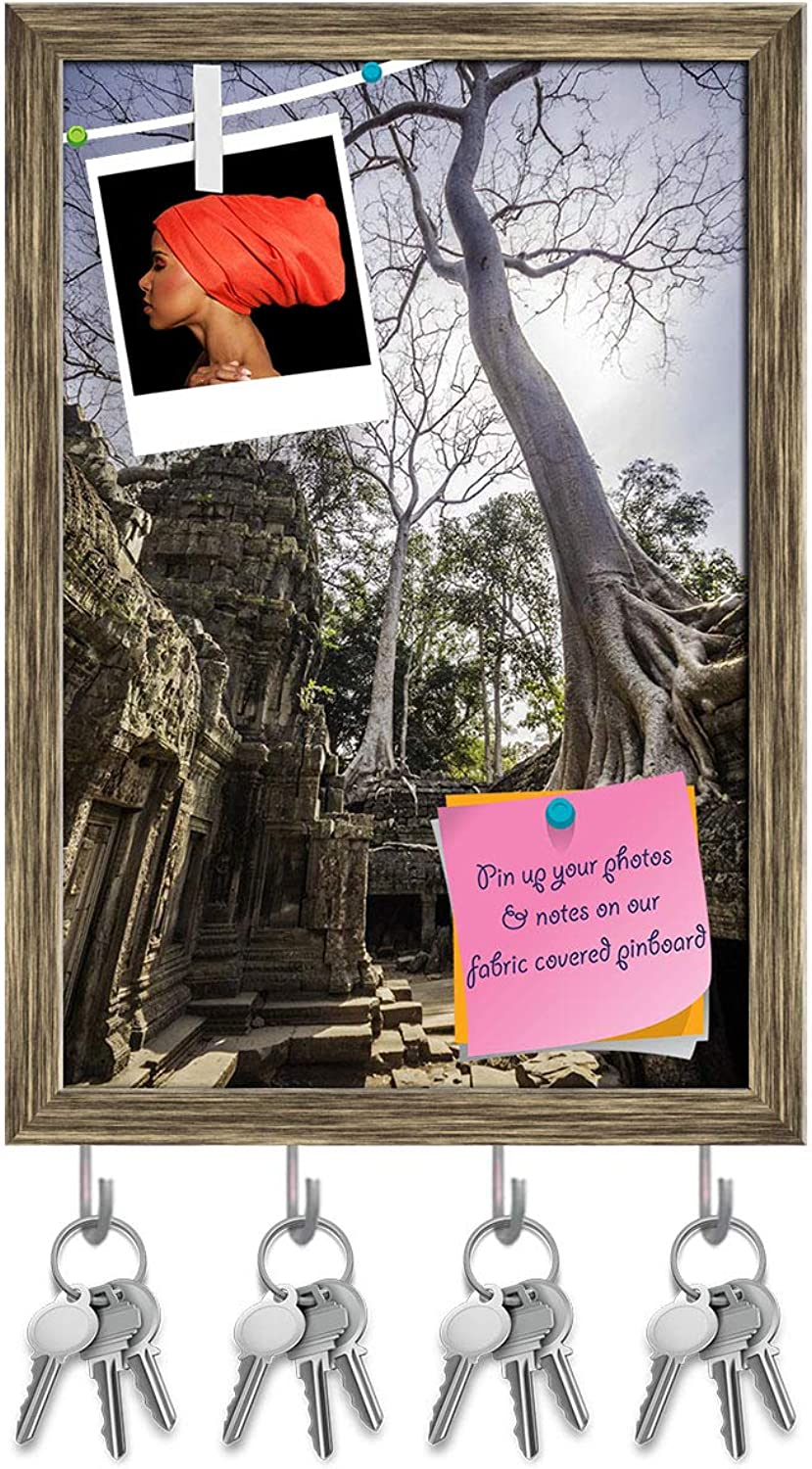 Artzfolio Ancient Temples of Ta Phrom, Angkor Wat, Cambodia Key Holder Hooks   Notice Pin Board   Antique golden Frame 12 X 17.5Inch