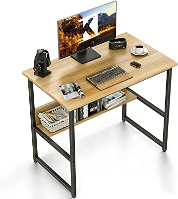 KKL 机 pcデスク パソコンデスク 幅80cm×奥行50cm 下棚付きデスク 勉強机 学習デスク 収納 大人/子供用 シンプルワークデスク 作業机 在宅勤務 一人暮らし おしゃれ 頑丈で組立簡単 ナチュラル