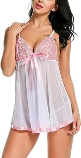 Avidlove Women's Lingerie Lace Babydoll Strap Chemise Mesh Sleepwear Outfits