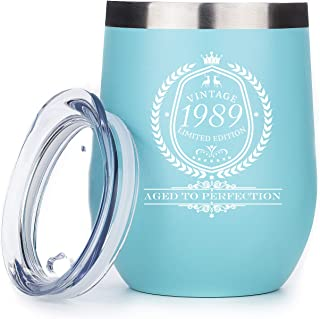 1989 30th Birthday Gifts for Women and Men - Funny Vintage Anniversary Gift Ideas for Mom, Dad, Husband or Wife - Party Decorations for Him or Her - 12 oz Stainless Steel Wine Tumbler with Lid