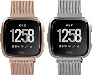2 Pack Metal Bands Compatible with Fitbit Versa/Versa Lite Edition/Versa 2, Small and Large Replacement Stainless Steel Me...