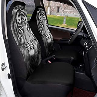 DLZXHomer Animal Decor Tiger Head in Dark, Universal Car Seat Covers,1/2pc,Water Resistant Non-Slip Backing Easy Installation