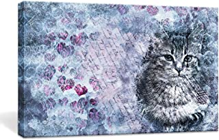 BOLUO Cat Wall Art Canvas Painting Framed Prints Artwork Watercolor Pictures Cute Animal Poster Bedroom Home Decor 10x16in (Purple)