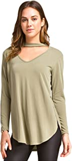 Women's Long Sleeve Hi-Low Modal Knit Top with Cutout Neckline Detail