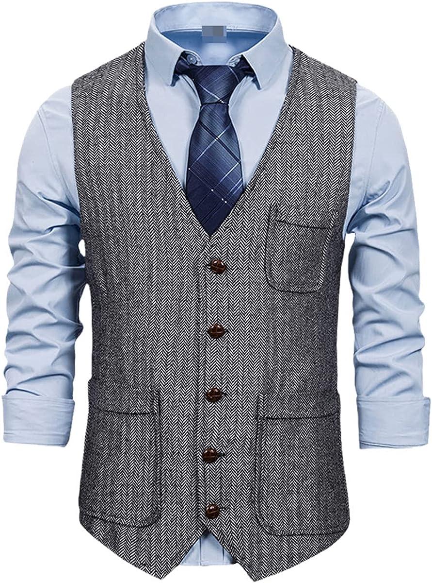 Men's Herringbone Pattern Double Pocket Single-breasted Vest Men's Suit Vest