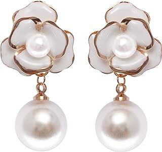 Fashion Jewelry Flower Camellia Enamel Faux Pearl Dangle Earrings