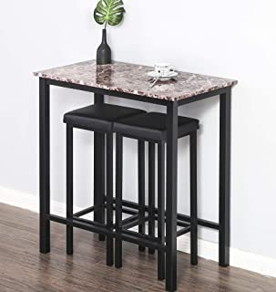 Homury 3-Piece Pub Dining Table Set Counter Height Table Set Breakfast Table with 2 Stools,Black