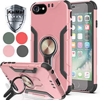 KaiMai iPhone 8 Case,iPhone 7/iPhone 6s/iPhone 6 Case with HD Screen Protector,Ring Magnetic Holder Kickstand Dual Layers of Shockproof Phone Case for Apple iPhone 6/6s/7/8-LJ-Rose Gold
