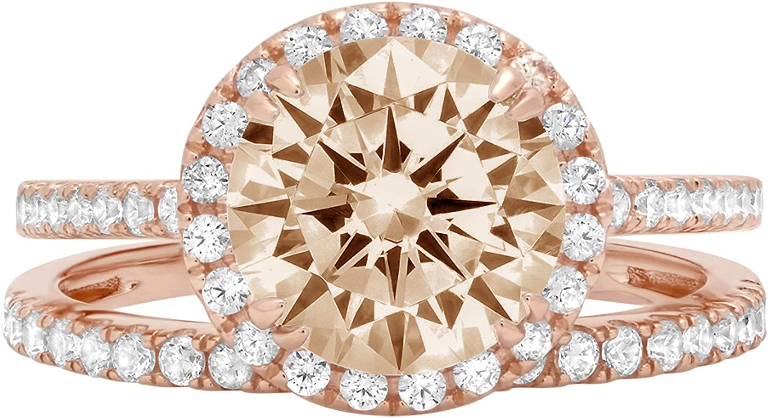 2.69ct Round Cut Halo Pave Solitaire with Accent Brown Champagne Simulated Diamond Designer Statement Classic Ring Band Set Real Solid 14k Rose Gold