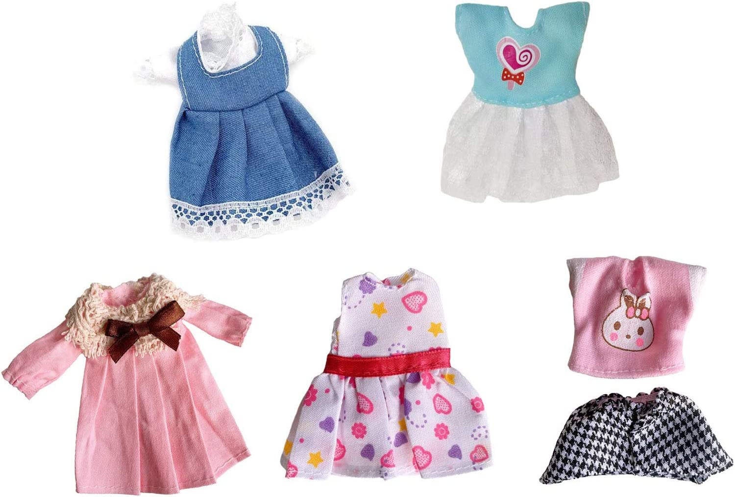5 Pcs Set Lovely Mini Doll Casual Time sale overseas fo Outfits Clothes Dress Party