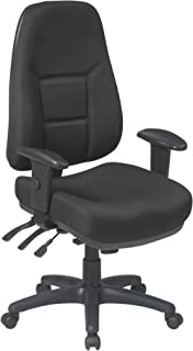 Office Star High Back Multi-Function Ergonomic Chair with Padded Contour and Seat with 2-Way Adjustable Arms, Black
