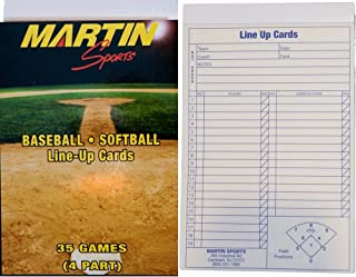 New Martin Baseball Softball 35 Game, 4 Part Carbon Copy Line Up Cards 5.5