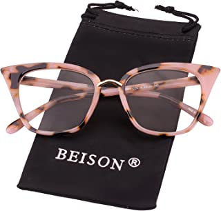 Beison Womens Cat Eye Mod Fashion Eyeglasses Frame Clear Lens