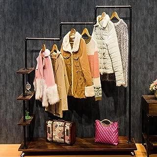 "FURVOKIA Industrial Metal Pipe&Wood Rolling Clothing Rack,Free Standing Garment Racks,Vintage Closet Organizer Storage Shelf,Decor Pipeline Shelves (Black, 47.2""W x 13.7""D x 60""H inch)"