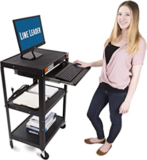 Line Leader AV Cart on Wheels - Includes Three Height Adjustable Shelves and Pullout Keyboard Tray - 15 ft Power Cord with Cord Management Included - Easy to Assemble (42 x 24 x 18 / Black)