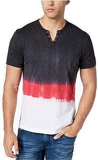 INC International Concepts Men's Split-Neck Dip Dyed Short-Sleeve T-Shirt