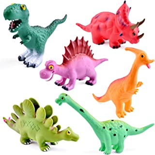 9 Inches to 12 Inches Dinosaur Baby Bath Toys, 6 Pack Dinosaur Figures Playset, Water Squirt Toys, Perfect as Bathtub Toys, Dinosaur Party Supplies, Party Favors, Toddler Birthday Gifts
