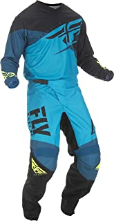 Fly Racing - 2019 F-16 (Mens Blue & Black & HI-VIS 2X-Large/38W) MX Riding Gear Combo Set, Motocross Off-Road Dirt Bike Light Weight Durable Jersey & Mesh Comfort Liner Stretch Pre Shaped Knees Pant