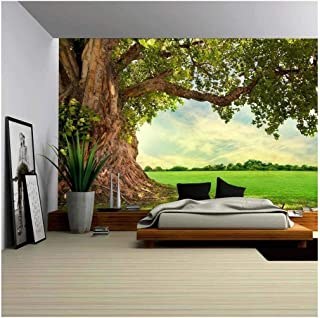 wall26 - Spring Meadow with Big Tree with Fresh Green Leaves - Removable Wall Mural | Self-Adhesive Large Wallpaper - 100x144 inches