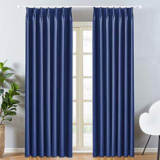 LEEPWEI 遮光カーテン カーテン 1級 ドレープカーテン 幅100cm丈178cm 2枚 ブルー遮光 断熱 防寒 防音 目隠し UVカット おしゃれ タッセル&フック付き