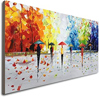 100% Hand-Painted Abstract Landscape Wall Art People Walking Modern Oil Painting