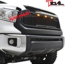 Tidal Replacement Tundra ABS Grille Upper Front Hood Grill - Matte Black - With Amber LED Lights for 14-19 Toyota Tundra
