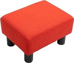 """HOMCOM 16"""" Cube Modern Linen Footrest Ottoman - Red"""